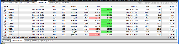 Forex demo-trading results